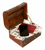 USA dollars in box with cell phone, isolated on white background