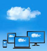 Cloud computing concept. All computer devices and white cloud. Vector.