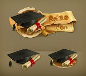 Graduation cap and diploma, vector icon