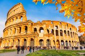 Colosseum with autumn leaves, Rome, Italy