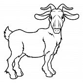 pic of billy goat  - An illustration of a stylised goat or ram perhaps a goat tattoo - JPG