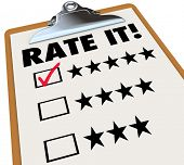 The words Rate It on a clipboard with stars next to ratings or reviews, and a checkmark in a box next to 5 star feedback