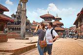 Beautiful young couple at Durbar Sqaure in Patan, Lalitpur city, Nepal