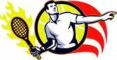 Tennis Player Flaming Racquet Ball Retro