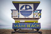 MIAMI, FLORIDA - JANUARY 9, 2014: One of the Miami Beach Life guard towers. There are 25 uniquely de