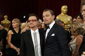 LOS ANGELES - MAR 2:: Bono, Leonardo DiCaprio  at the 86th Annual Academy Awards at Hollywood & High