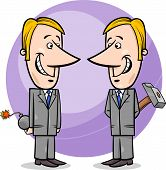 stock photo of lobbyist  - Concept Cartoon Illustration of Two Businessmen or Politicians Pretending Friendship - JPG
