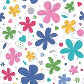 colorful hearts and flowers pattern