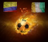 Hot soccer ball in fires flame, game Columbia and Cote d'Ivoire