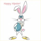 cartoon hipster rabbit