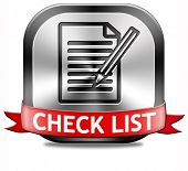 Check list button validation evaluate and review