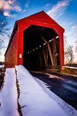 Winter View Of Loy's Station Covered Bridge In Rural Frederick County, Maryland.
