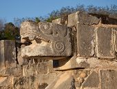 pic of serpent  - One of the feathered serpent statues of Chichen Itza in Mexico - JPG