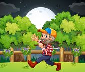 Illustration of an old lumberjack carrying an axe while walking