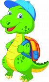 Cute dinosaur cartoon with backpack