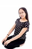 Asian Tween Girl In Kneeling Pose