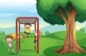 Illustration of the kids playing near the tree