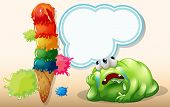 Illustration of a fat green monster lying down near the giant icecream