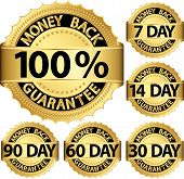 Money Back Guarantee Golden Set, Vector Illustration