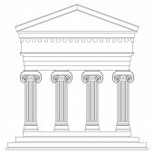 image of ionic  - Ionic temple on white background - JPG