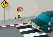 Illustration of a boy running near the pedestrian lane