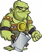 Cartoon ogre with a big hammer. isolated on white