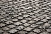 Close Up Of An Old English Cobblestone Road In Truro.