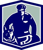 stock photo of policeman  - Illustration of a policeman police officer security guard with police dog with facing front set inside shield crest on isolated background done in retro style - JPG