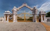 picture of india gate  - The ornamental entrance gate of Sripuram the Golden Temple in Vellore Tamil Nadu India - JPG