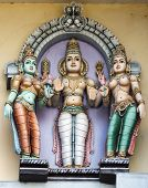 Lord Murugan And His Two Wives, Valli And Deivayanai.
