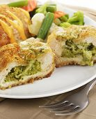 Breaded Chicken Breasts Stuffed With Broccoli And Cheese