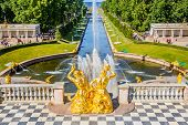 PETERHOF, RUSSIA - JUNE 22, 2012: Grand Cascade and sea canal in Peterhof, St Petersburg, Russia on