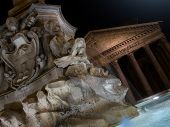 Fountain of Piazza Rotonda at night outside Pantheon in Rome, Italy