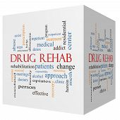 Drug Rehab 3D Cube Word Cloud Concept