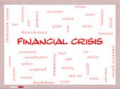 Financial Crisis Word Cloud Concept On A Whiteboard