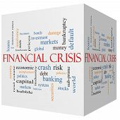 Financial Crisis 3D Cube Word Cloud Concept