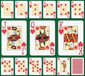 Playing cards heart suit, joker and back. Faces double sized. Green background in a separate level