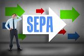 The word sepa and thoughtful businessman with hand on head against arrows pointing