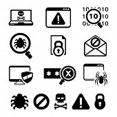 Digital criminal icons set / BW
