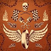 picture of motorcycle  - Motorcycle bike vintage design elements of skull wheel piston and flames vector illustration - JPG