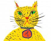 cat champion. child drawing