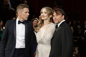 LOS ANGELES - MAR 2:: Ethan Hawke, Julie Delpy, Richard Linklater at the 86th Annual Academy Awards
