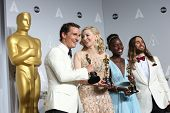 LOS ANGELES - MAR 2:: Matthew McConaughey, Cate Blanchett, Lupita Nyong'o, Jared Leto  in the press room at the 86th Annual Academy Awards on March 2, 2014 in Los Angeles, California