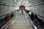 TEHRAN, IRAN - NOVEMBER 24, 2007: Escalators in underground station in Tehran Metro