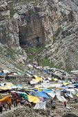 AMARNATH, JAMMU & KASHMIR, INDIA - JULY 18, 2006: Holy Amarnath Cave in Kashmir Himalays. It is a Hi
