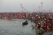 Allahabad, India - February 10, 2013: Hindu devotees came to confluence of the Ganges and the Yamuna