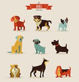 stock photo of pooping  - Dogs vector set of icons and illustrations - JPG