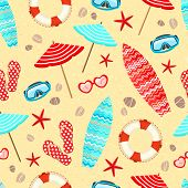 stock photo of lifeline  - Seamless summer holiday vacation pattern background vector illustration - JPG