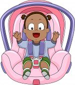 Illustration of a Smiling Baby Girl Strapped to a Car Seat