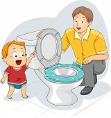Illustration of a Father Teaching His Toddler How to Flush the Toilet